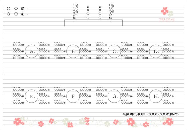 無料テンプレートで手作り席次表【基本編】 結婚式招待状や